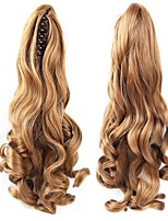 cheap -20 inch Dark Wine Platinum Blonde Light Blonde Dark Auburn Medium Auburn Clip In Wavy Ponytails Bear Claw/Jaw Clip Human Hair Hair Piece