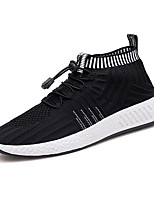 cheap -Men's Shoes PU Tulle Spring Fall Comfort Light Soles Sneakers Walking Shoes for Casual Outdoor Black/Red Black/White Black