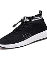 Недорогие -Для мужчин обувь Тюль Полиуретан Весна Осень Удобная обувь Светодиодные подошвы Кеды Для прогулок для Повседневные Черный Черно-белый