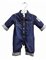 cheap -Baby Unisex Casual/Daily Solid One-Pieces,Cotton Spring Fall Simple Long Sleeve Blue