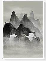 Недорогие -Масляные картины Предметы искусства,Полистирен материал с рамкой For Украшение дома Предметы искусства в рамках Столовая