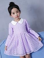 abordables -Robe Fille de Quotidien Sortie Couleur Pleine Fleur Coton Polyester Printemps Automne Manches Longues simple Mignon Actif Violet Jaune