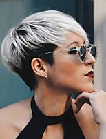 cheap -Human Hair Capless Wigs Human Hair Straight Pixie Cut With Bangs Side Part Dark Roots Ombre Hair Short Machine Made Wig