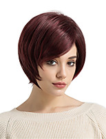 cheap -Synthetic Hair Wigs Straight Side Part With Bangs Natural Wigs Short Dark Wine