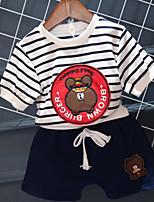 preiswerte -Jungen Kleidungs Set Alltag Gestreift Cartoon Design Baumwolle Sommer Langarm Rote Marineblau