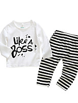 cheap -Baby Girls' Daily Striped Letter Clothing Set,Cotton Spring Simple Long Sleeve White