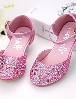 cheap -Girls' Shoes Sparkling Glitter Spring Fall Comfort Flower Girl Shoes Tiny Heels for Teens Heels for Casual Silver Blue Pink