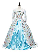 cheap -Rococo Victorian Costume Women's Adults' Outfits Print Vintage Cosplay Cotton Fabric 3/4 Length Sleeves Puff/Balloon