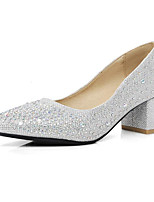 Недорогие -Жен. Обувь Полиуретан Весна Осень Удобная обувь Обувь на каблуках На толстом каблуке для Повседневные Золотой Серебряный
