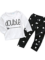 cheap -Baby Boys' Daily Letter Clothing Set, Cotton Spring Ordinary Long Sleeves White