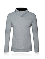 cheap -Men's Daily Hoodie Solid Round Neck Micro-elastic Cotton Long Sleeve Spring Fall