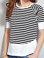 cheap -Women's Daily Casual Summer T-shirt,Striped Round Neck Short Sleeve Cotton
