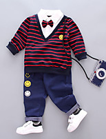 cheap -Boys' Daily Striped Clothing Set,Cotton Spring Fall Long Sleeve Casual Red
