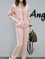 cheap -Women's Sports Casual Fall Hoodie Pant Suits,Print Stand Long Sleeve Polyester