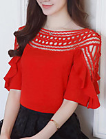 cheap -Women's Daily Casual Spring Summer Blouse,Solid Round Neck Long Sleeve Cotton Medium