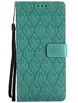 cheap -Case For OPPO Card Holder Wallet with Stand Embossed Full Body Cases Solid Color Flower Hard PU Leather for OPPO R9s OPPO F1s OPPO A59