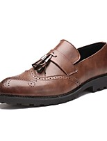 cheap -Men's Shoes Leather Spring Fall Comfort Loafers & Slip-Ons for Wedding Casual Brown Black