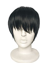 cheap -Cosplay Wig Layered Synthetic Fiber Wig Short Black Wig Cos Party Anime Wig Heat Resistant