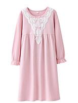 Недорогие -Девичий Платье Однотонный Длинные рукава Уличный стиль Синий Розовый Светло-голубой