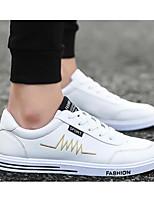 Недорогие -Для мужчин обувь Дерматин Весна Осень Удобная обувь Кеды для Повседневные Белый Черный Синий