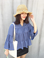 cheap -Women's Casual/Daily Street chic Shirt,Solid V Neck Long Sleeves Cotton