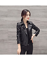 cheap -Women's Daily Vintage Winter Leather Jacket,Solid Round Neck Short Sleeve Regular Cotton Acrylic Pleated