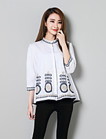 cheap -Women's Casual/Daily Street chic Shirt,Embroidery Stand 3/4 Length Sleeve Cotton