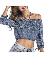 Недорогие -Для женщин Повседневные Лето Блуза Хальтер,На каждый день Цветочный принт Хлопок