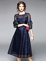 cheap -MAXLINDY Women's Party Going out Vintage Sheath Lace DressPatchwork Round Neck Midi 3/4 Sleeve Polyester Winter Fall High Waist Inelastic Thin