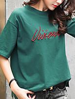 preiswerte -Damen Solide Buchstabe Freizeit Alltag T-shirt,Rundhalsausschnitt Frühling Sommer Kurze Ärmel Baumwolle