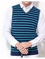 cheap -Men's Daily Casual Regular Vest,Striped V Neck Sleeveless Polyester Fall Opaque Micro-elastic