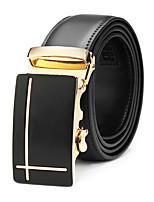 cheap -Men's Leather Waist Belt,Black Vintage Metal