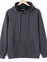 cheap -Men's Petite Daily Going out Casual Hoodie Solid Hooded Hoodies Micro-elastic Cotton Long Sleeve Winter