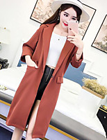 cheap -Women's Casual/Daily Simple Winter Fall Trench Coat,Solid Shirt Collar Long Sleeve Long Rayon Oversized