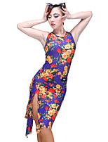 cheap -Latin Dance Dresses Women's Performance Modal Milk Fiber Pattern / Print Sleeveless Natural Dress