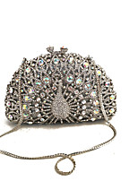 cheap -Women Bags Metal Evening Bag Crystal Detailing for Wedding Event/Party Formal All Season Silver