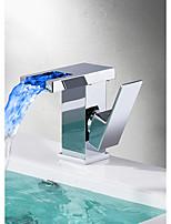 abordables -Moderno Conjunto Central Cascada Válvula Cerámica Sola manija Un agujero Cromo , Baño grifo del fregadero