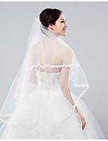 cheap -Two-tier Classic Wedding Veil Fingertip Veils 53 Embroidery Tulle