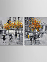 cheap -Hand-Painted Landscape Horizontal, Modern Canvas Oil Painting Home Decoration Two Panels