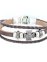 cheap -Men's Bracelet , Simple Korean Leather Alloy Cross Jewelry Daily