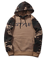 cheap -Men's Sports Going out Camouflage Hooded Hoodie Regular, Long Sleeves Winter Spring/Fall Cotton Polyester