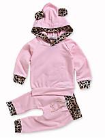 cheap -Baby Girls' Daily Print Clothing Set, Cotton Spring Ordinary Long Sleeves Blushing Pink