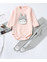 cheap -Girls' Daily Solid Cartoon Clothing Set,Cotton Spring Summer ¾ Sleeve Casual Beige Blushing Pink