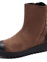 Недорогие -Для женщин Обувь Замша Зима Осень В ковбойском стиле Модная обувь Армейские ботинки Ботинки Плоские Круглый носок Сапоги до середины икры