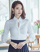 cheap -Women's Work Cotton Polyester Shirt - Solid Shirt Collar