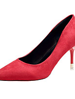 cheap -Women's Shoes PU Spring Fall Comfort Heels Stiletto Heel for Outdoor Pink Blue Red Black