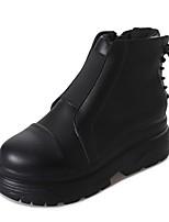 preiswerte -Damen Schuhe PU Winter Herbst Komfort Stiefel Creepers Runde Zehe Mittelhohe Stiefel für Normal Schwarz