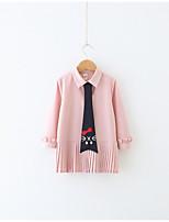 abordables -Robe Fille de Quotidien Imprimé Coton Polyester Printemps Manches Longues simple Rose Claire
