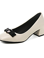 cheap -Women's Shoes PU Spring Comfort Heels Chunky Heel Square Toe Bowknot for Casual Beige Black
