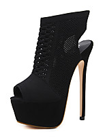 cheap -Women's Shoes Fabric Spring Fall Comfort Novelty Fashion Boots Boots Stiletto Heel for Wedding Black